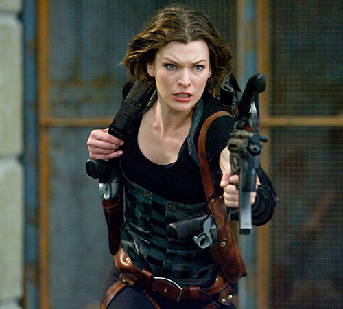 Milla Jovovich -  3rd degree black belt in Taekwondo, trained in martial arts weapons, Brazilian Jiu-Jitsu, karate and kickboxing.